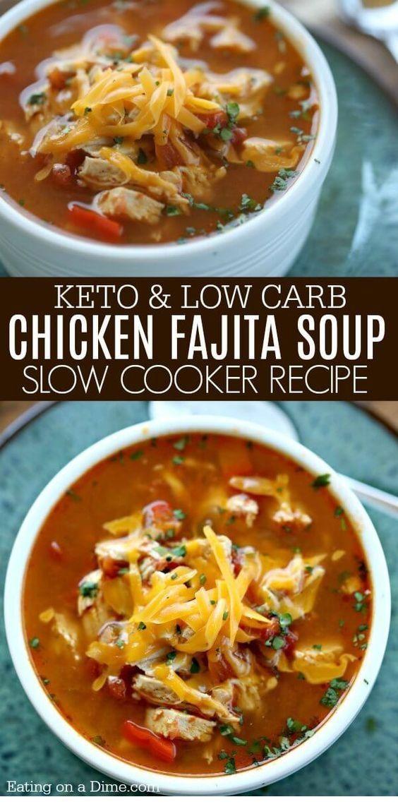 Crock Pot Chicken Fajita Soup  | Tasteful Recipes