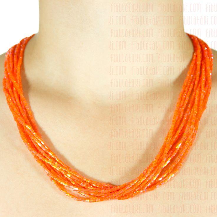 Fibula Takı - Salkım Saçak Serisi / Kolye - boncuk - turuncu