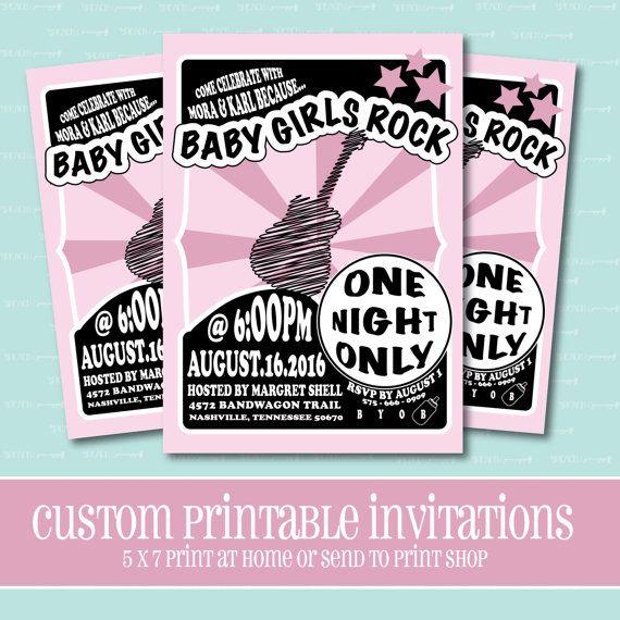 Baby Girls Rock BABY SHOWER Invitation by ThePeachandPineapple