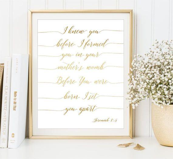 I knew you before I formed you print Jeremiah 5:1 Nursery