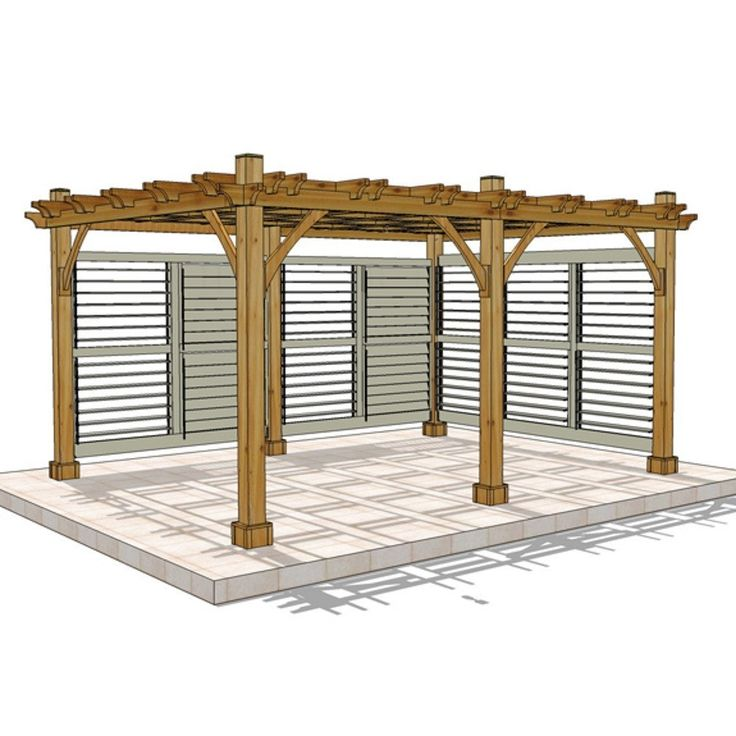 12 x 16 Breeze Pergola with 2 Louvered Wall Panels