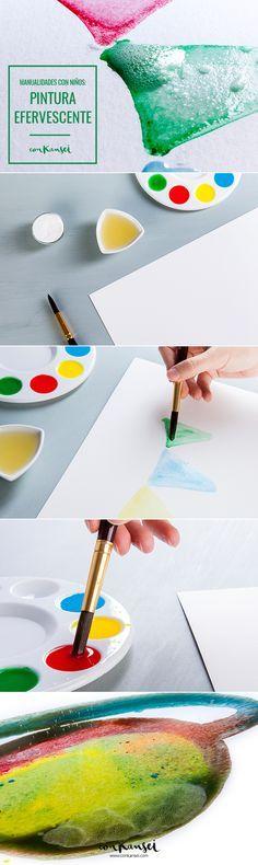 3 manualidades para hacer con niños este verano: pintura efervescente.