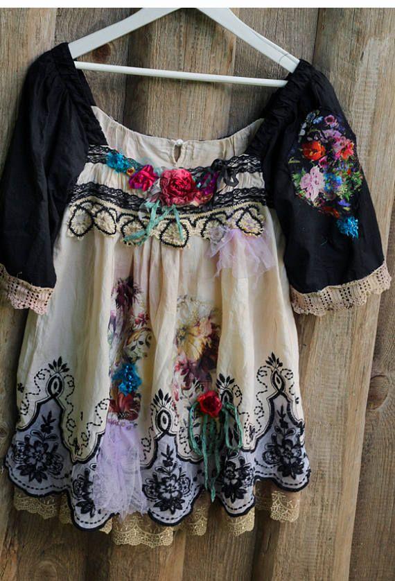 Ornamental tunic top shabby chic whimsy bohemian top
