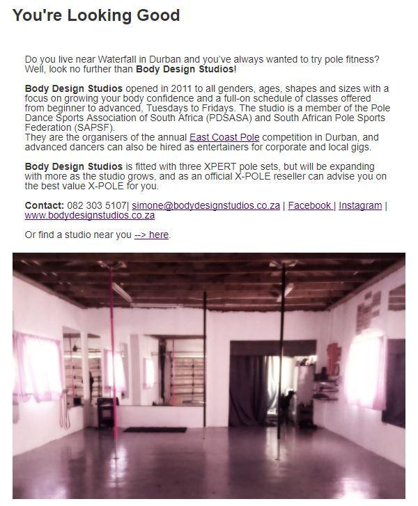 Body Design Studios, Durban #StudioSpotlight #polefitness #inpoleposition