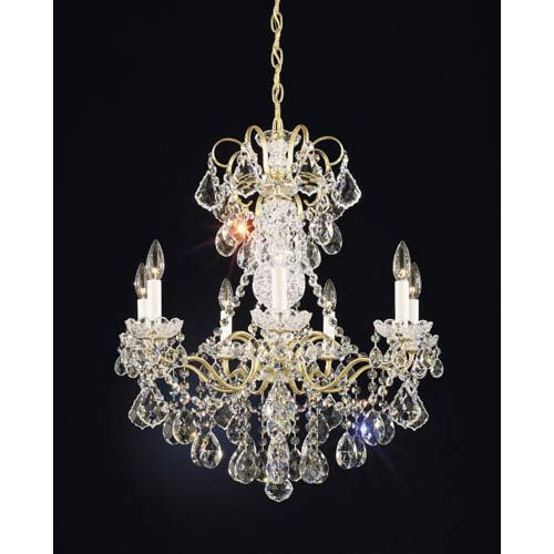 Schonbek New Orleans French Gold Seven Light Clear Heritage Handcut Crystal Chandelier 24w X 27h 24d