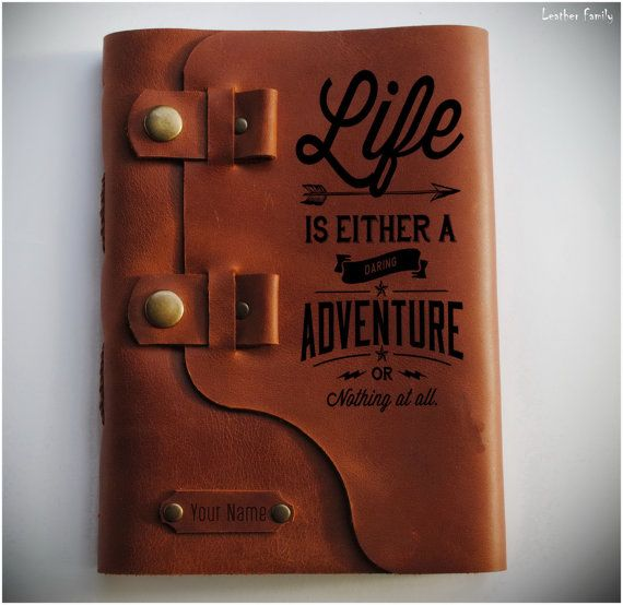 Travel journal /Leather diary/Adventure notebook/ Leather sketchbook/ Leather gift/Travel quote diary/Life is either quote