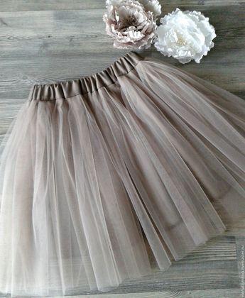 Купить Детская юбка из фатина цвет Ракушка - бежевый, однотонный, юбка из фатина, балетная пачка