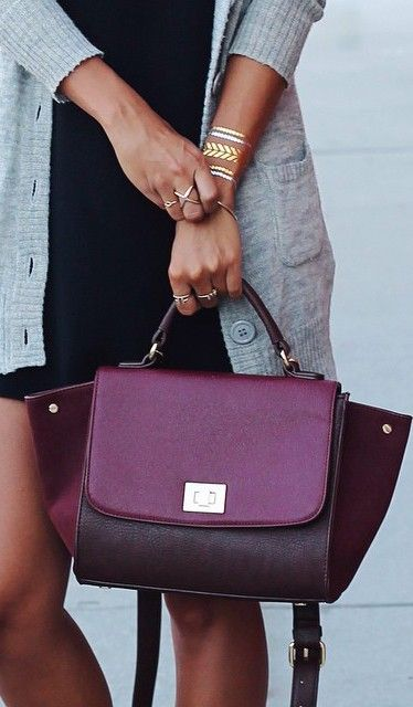 Textured vegan leather mini-satchel with a color block design and structured shape.