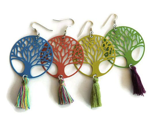 Tree of life earrings, Tassel filegree earrings, Boho earrings, Green tree earrings, Blue rotten apple statement earrings, Christmas gift