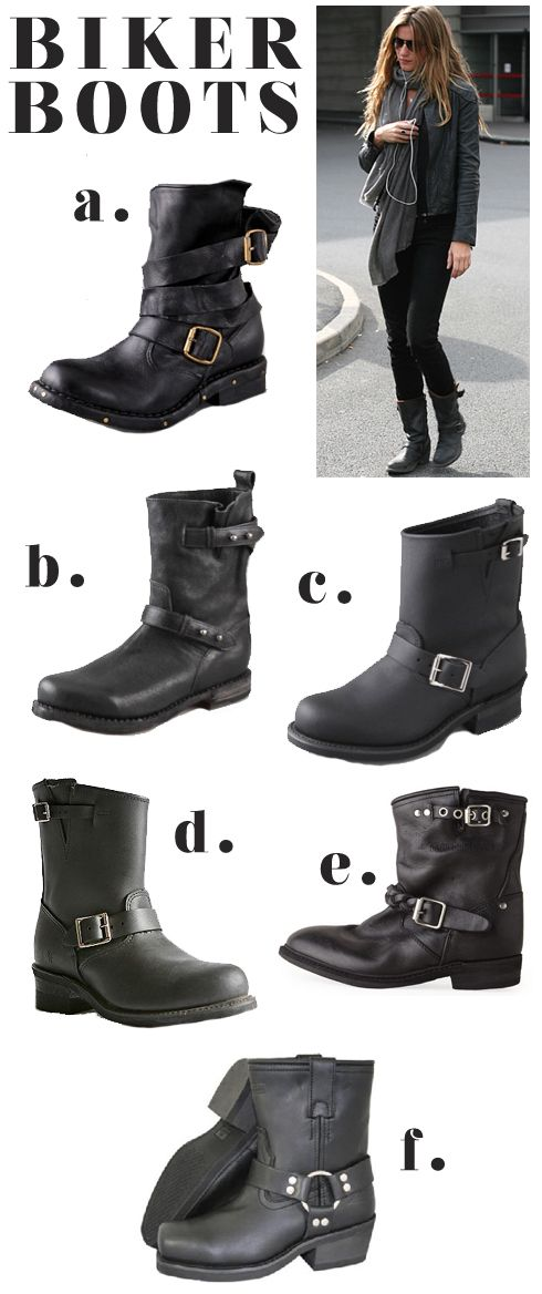 The Biker Boot Trend. Love it!  Made by Girl Blog. A and B are my favs.