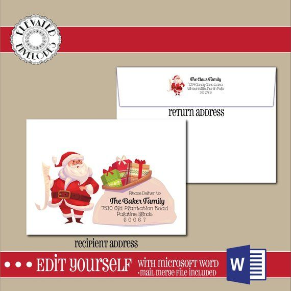 Editable Christmas Envelope Templatechristmas Envelope Etsy In 2021 Envelope Template Printed Envelopes Christmas Envelopes
