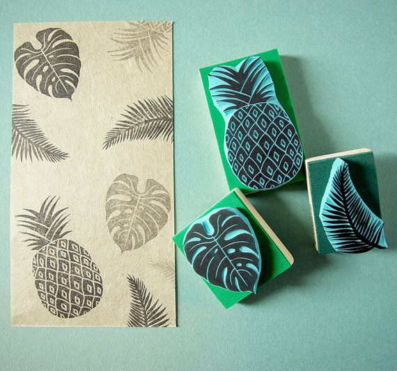 Tropical Rubber Stamps set of 3 stamps hand carved stamps