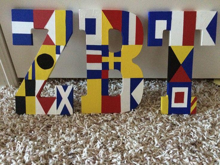 Nautical flag ZBT fraternity letters