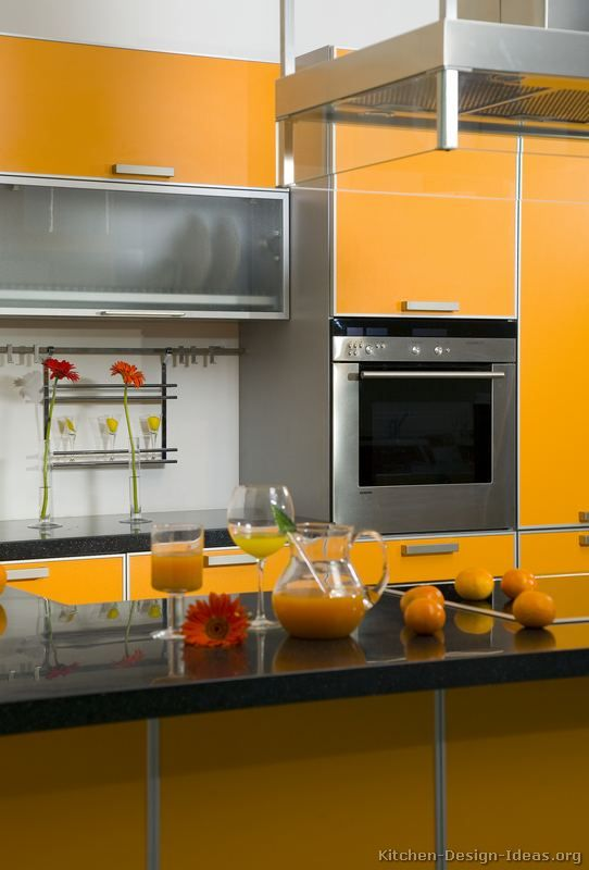 #Kitchen Idea Of The Day: A Gallery Of Modern Orange Kitchens.