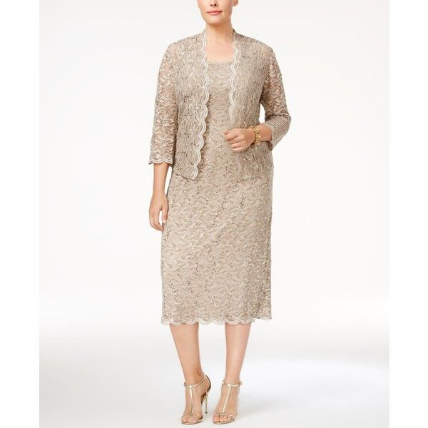 Alex Evenings Plus Size Sequin Lace Dress & Jacket (51.085 HUF) ❤ liked on Polyvore featuring plus size women's fashion, plus size clothing, plus size dresses, champagne, champagne lace dress, mother of the bride dresses, women plus size dresses and champagne cocktail dress