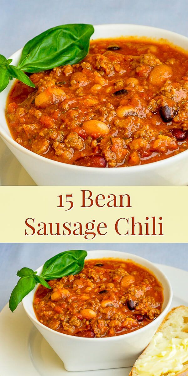15 Bean Sausage Chili Italian Sausage Adds Plenty Of Flavour And Seasoning To This Unusually Delicious Chilli Rec Sausage Chili Chilli Recipes Italian Sausage