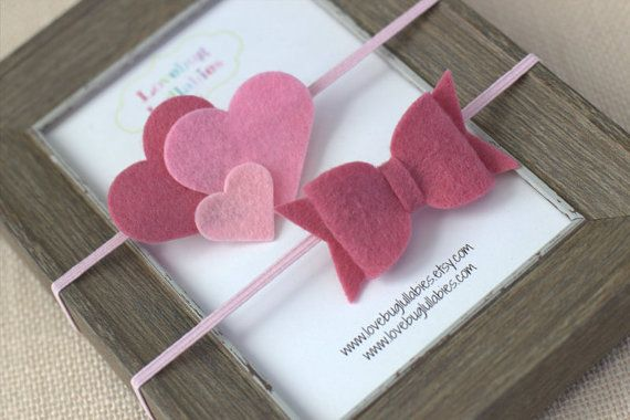 Pink Felt Heart & Bow Headbands or Hair Clip Set; Newborn Baby Child Felt Heart Headband; Felt Bow Headband; Baby Shower Gift