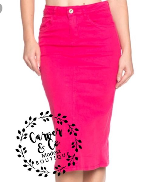 """Britt Nicole"" Hot Pink Denim Skirt – Carver & Co. Boutique"
