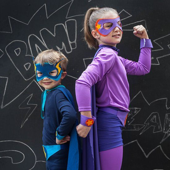 Superhero costumes are a classic and we made these no-sew for our Lightning Boy and Star Girl.