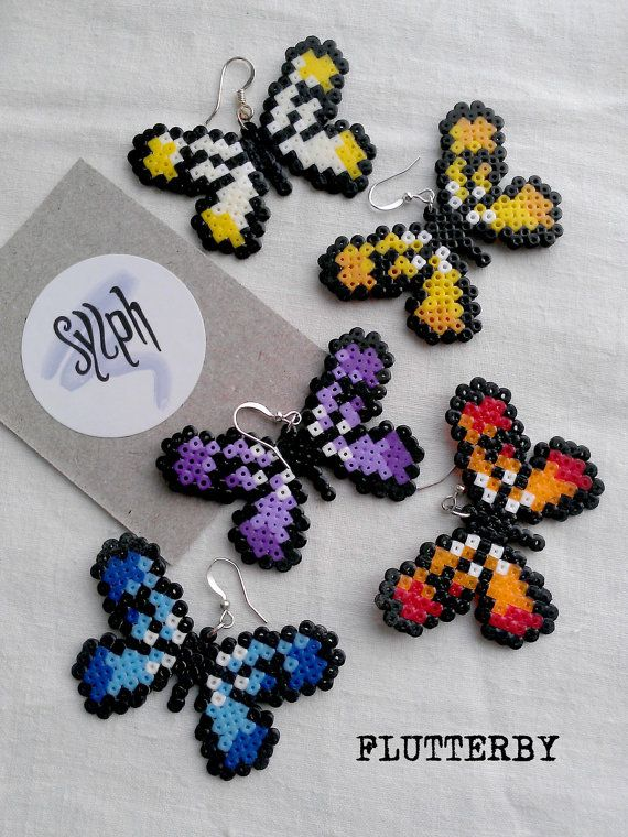 Earrings made of Hama Mini Beads Flutterby by SylphDesigns, €7.00