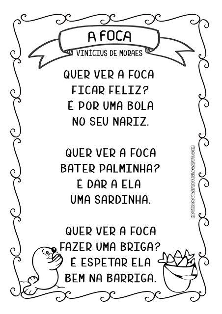 Notebook da Profª: Sequencia Didática - A Foca - Vinícius de Moraes