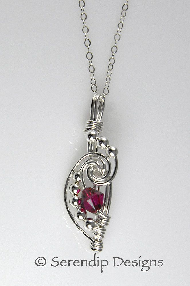 Sterling Silver Vintage Birthstone Dragonfly Necklace - Ruby Crystal, July - BRANDED GIFT BOX