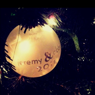 DIY ornaments. Scrapbook stickers and frost spray. Put stuff in the ball for fun look