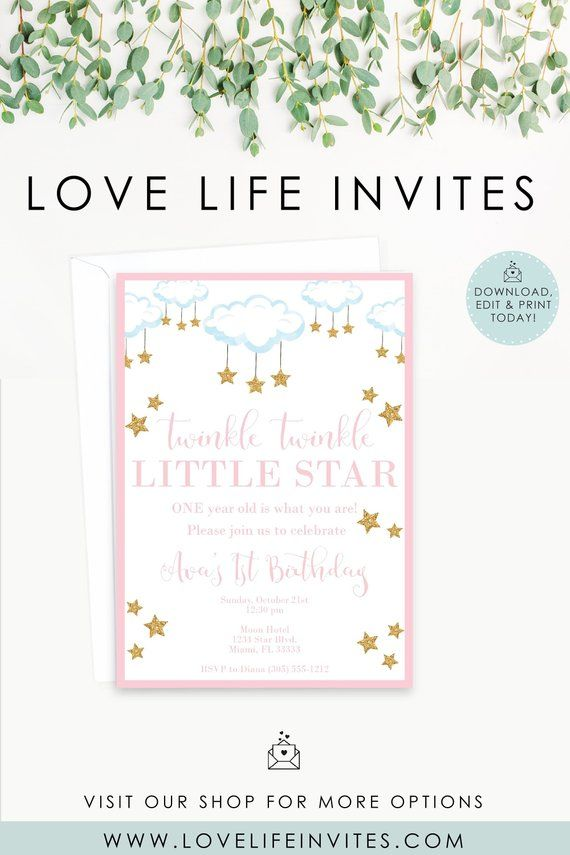 Twinkle Twinkle Little Star Editable Birthday Invitation Pink Gold