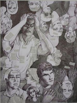 Herkkupurkki: taideteos  collague, drawing By: Satu Laaninen