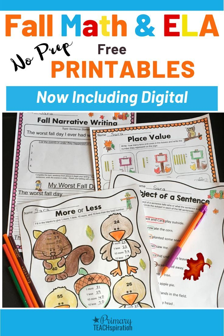 Math Ela Free Fall Worksheets Print And Digital With Tpt Easel 1st 2nd Gr Literacy Printables Fall Math Math Literacy Ready to go fall literacy pack