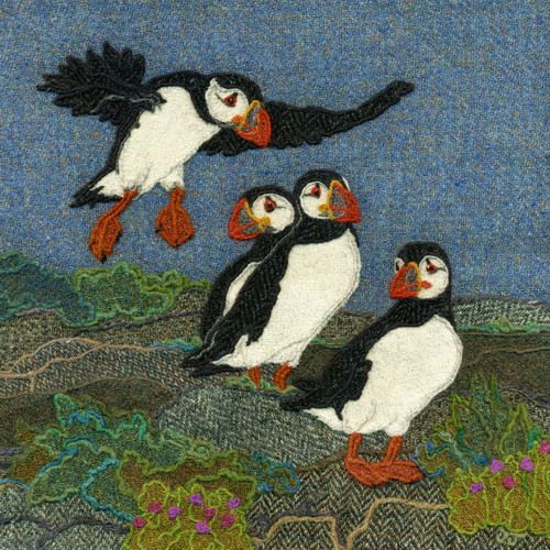"""Landing Puffin"" - Harris Tweed needle felted paintings, giclee prints & greetings cards by Jane Jackson. www.brightseedtextiles.com"