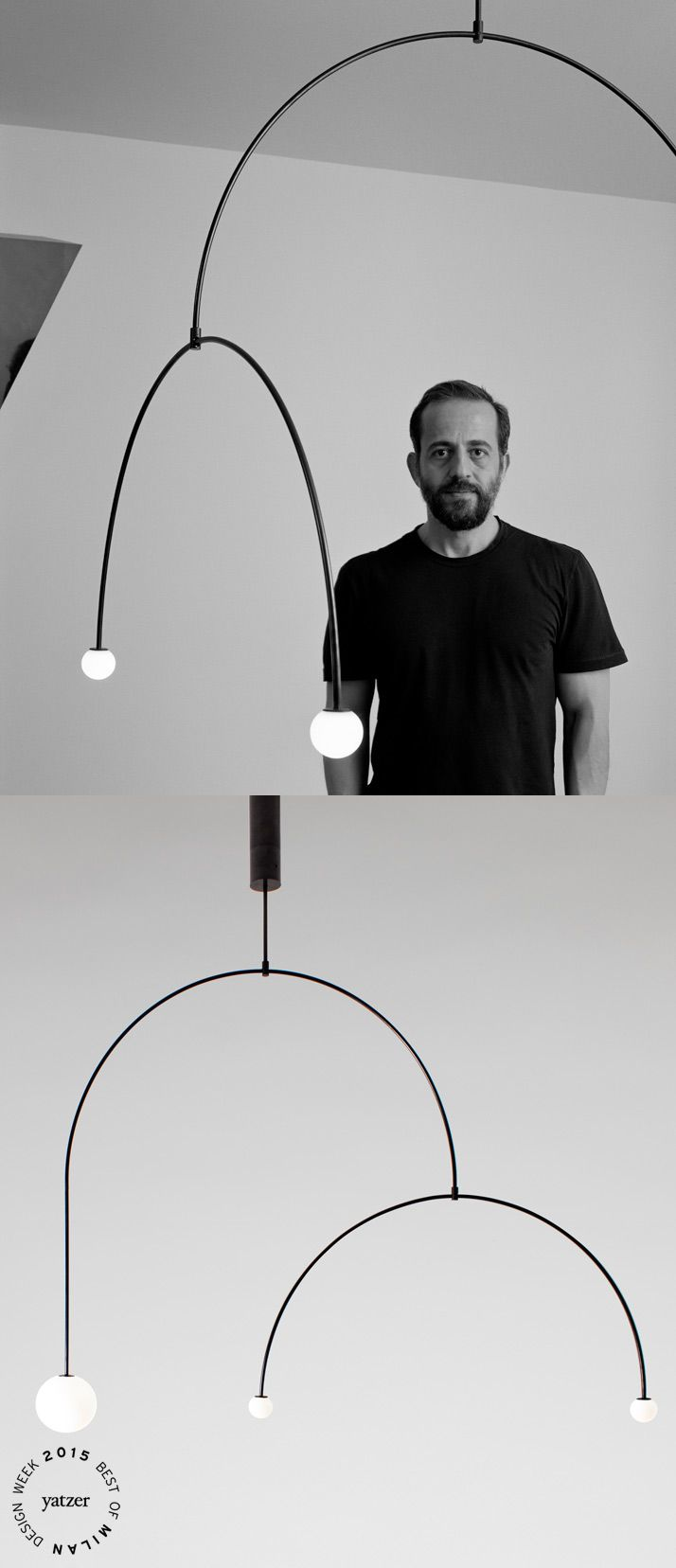 BEST OF MILAN DESIGN WEEK 2015 | Mobile Chandelier 9 is one of the 15 new lighting designs that Michael Anastassiades launched in Milan this year, extending the collection of minimal mobile chandeliers and spherical lamps produced by his own brand. Photographs by Hélène Binet. http://www.yatzer.com/best-of-milan-design-week-2015