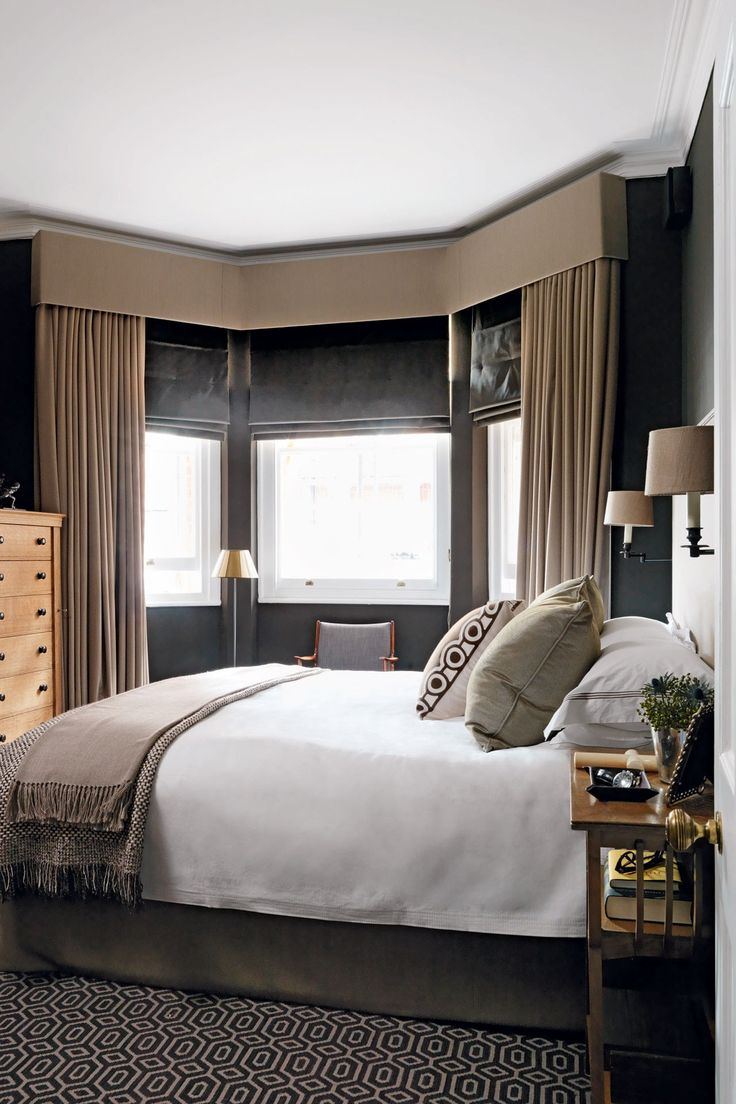 Bedroom bay window designs - Dark Green Scheme Bay Window Drapesbay Windowsbedroom