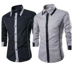 kemeja pria katun stretch best Quality size fit L XL warna abu abu dan hitam       fashion kungtay best seller KFS052                                 hem alonzo XL pakaian pria kemeja slim fit ukuran xl