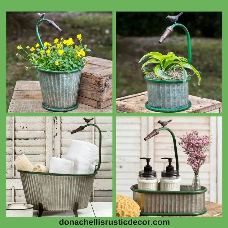 Our Garden Hose Planters are so clever! A mock garden hose with a nozzle appears to be ready to water your plant. A little birdie on the hose is there to watch over your plants. Our oval and footed Garden Hose Planters can double as bath caddies to house bathroom accessories. Link is in our bio. Head to Garden & Patio and then Planters.  #garden #gardens #vintage #farmhouse #farmhousestyle #countrydecor #decor #patio #patiodecor #flowerpot #countrygarden #vintagestyle #vintagedecor…