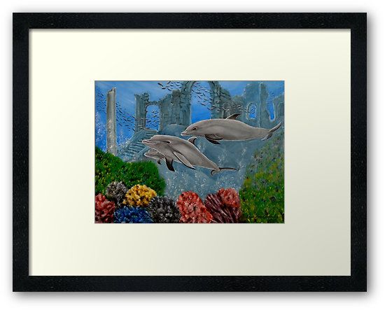 Framed print, dolphins,painting,underwater,world,scene,wildlife,fish,seascape,ruins,temples,sunk,ancient,town,saltwater,ocean,sea,deep,bottom,floor,nature,reefs,bubbles,vivid,colorful,aqua,blue,water,mystery,submerged,marine,animal,beautiful,awesome,cool,superb,amazing,fabulous,magnificent,contemporary,realistic,figurative,in,of,under,the,fine,oil,wall,art,images,home,office,decor,artwork,modern,items,ideas,for sale,redbubble