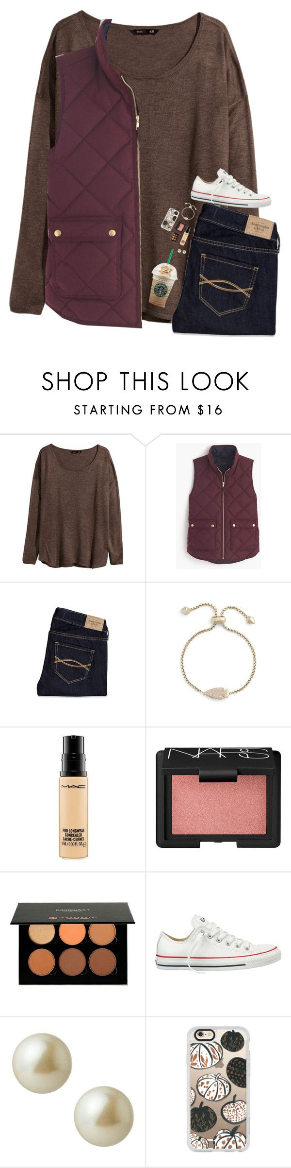 """Day 1- School Festival"" by beautygirl480 ❤ liked on Polyvore featuring H&M, J.Crew, Abercrombie & Fitch, Kendra Scott, MAC Cosmetics, NARS Cosmetics, Anastasia, Converse, Carolee and Casetify"
