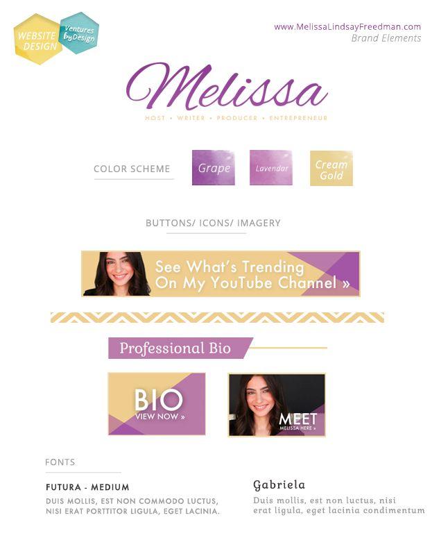 Web Design, Style Guide, Spirit, Talent & Beauty - MelissaLindsayFreedman.com  Website Design by www.VenturesByDesign.com  #violet #gold #cream #modern Pretty website design