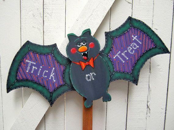 Halloween Bat Yard Sign Halloween Yard Art by RoseArborCrafts