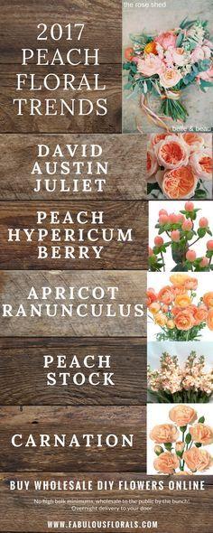 2017 peach  wedding flower trends! www.fabulousflorals.com The DIY bride's #1…