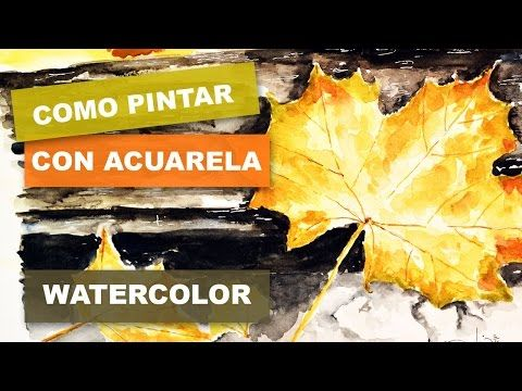 How to easily paint leaves in wate. Painted Leaves, Watercolor, Youtube, Movie Posters, Painting, Pen And Wash, Autumn Trees, Acrylic Painting Tutorials, Art