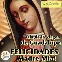 Día de la Virgen de Guadalupe. Felicidades Madre Mía!