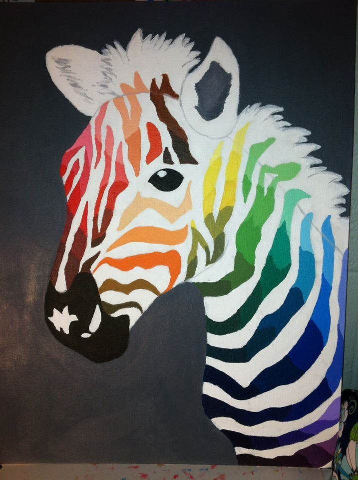 My color wheel project.  I used a zebra as inspiration