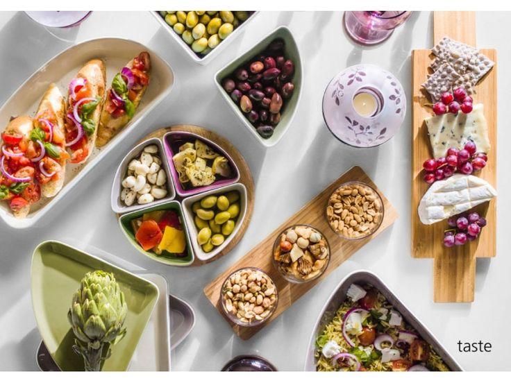 Sagaform Taste - cztery miski i deska | BelloDecor przystawki party impreza dodatki do wnętrz