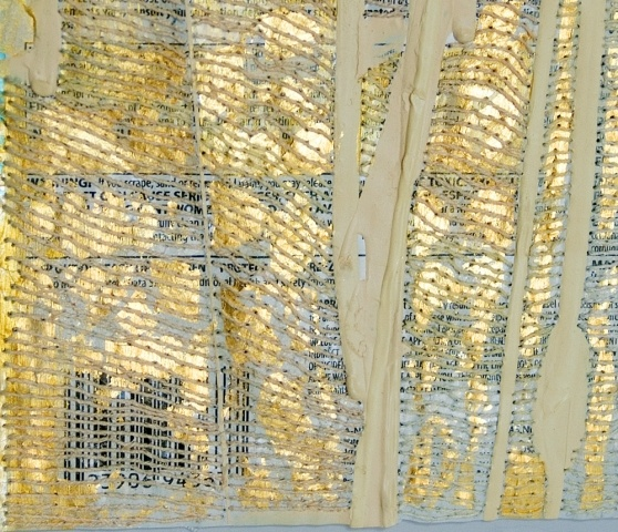 Nicola Ginzel, latex paint + lable, goldleaf thread