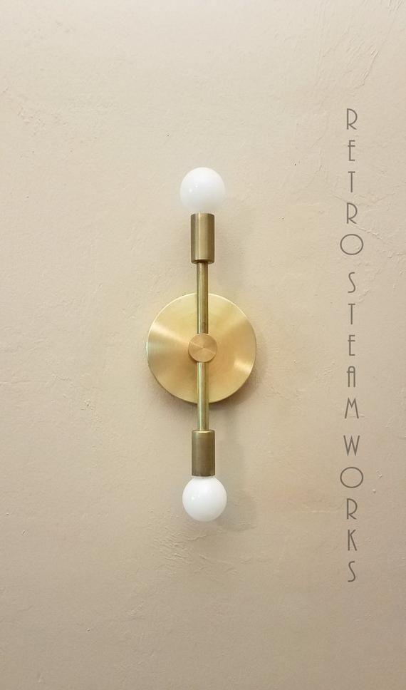 Industrial Gold Light Modern Linear Sconce Raw Brass Mid Etsy Modern Lighting Modern Light Fixtures Flush Ceiling Lights