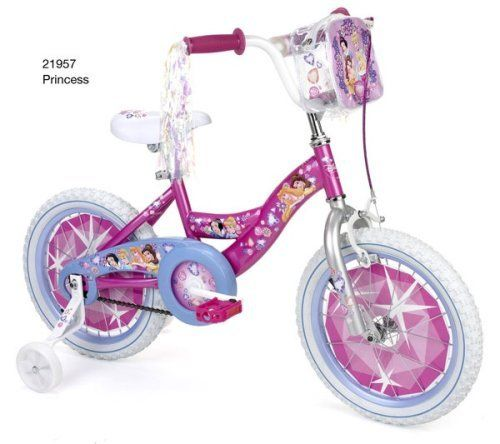 Huffy Disney Princess Girls' Bike (16-Inch Wheels) by Disney. $129.99. Amazon.com                A great choice for a little girl's first bike, the Huffy Disney Princess 16-inch bike for girls features a delightfully decorated steel frame with princess decal decorations that's complemented by colorful accents on the pedals and wheel rims as well as streamers. The bike also includes a handlebar pad, an enclosed chain guard, and a princess-themed backpack that attaches to the t...