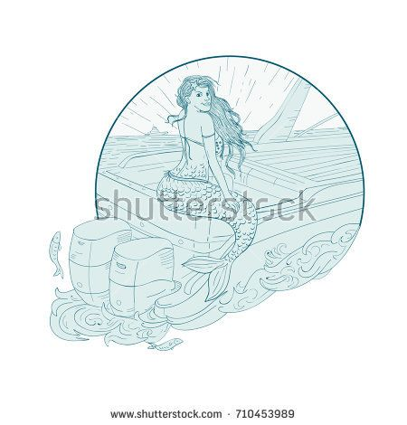 Drawing sketch style illustration of a Mermaid siren Sitting on Boat transom set inside circle on isolated background.  #mermaid #drawing #illustration