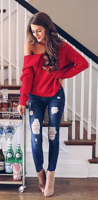 #fall #outfits women's red knitted sweater and blue-washed distressed jeans #sweatersforwomen
