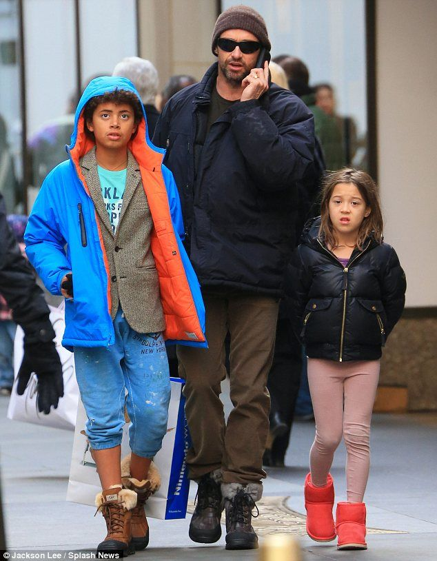 Actor Hugh Jackman (X-Men) with his two adopted children, son Oscar ...